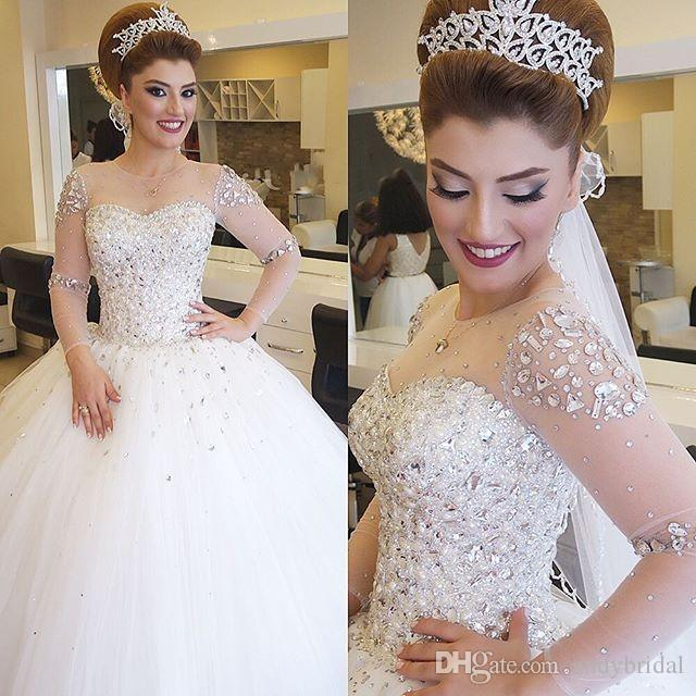 2016 Ball Gown Wedding Dresses Long Sleeves Bridal Illusion Neckline Luxury Gowns With Rhinestones Pearls Crystals Black And White