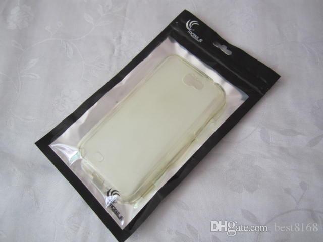 13.5 * 23 cm Paquete al por menor Bolsa de cremallera Bolsa Black Bolsa para Samsung Galaxy S20 S10 S20FE Nota 20 iPhone 12 11 XR XS MAX 8 7 6 CUERO DURO DE CUERO DURO