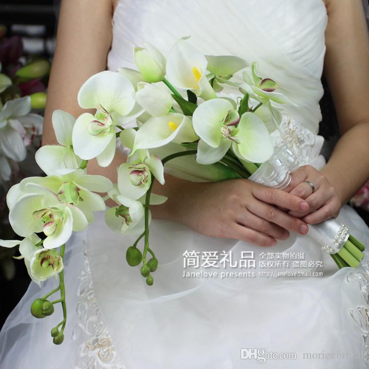Cheap Bridal Bouquet Artificial Flowers Butterfly OrchidTulip