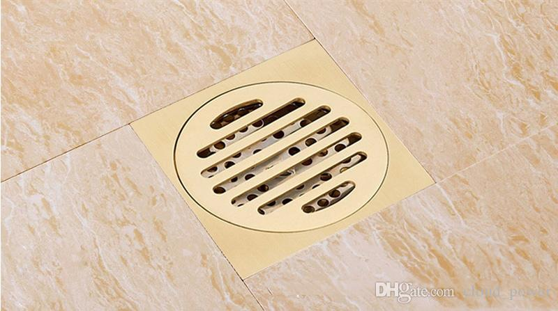 Solid Brass Square Floor Drain Art Carved Shower Ground Drainer,10*10 cm