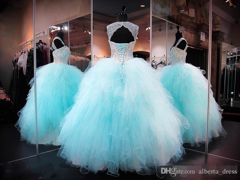 Quinceanera Dresses Sweetheart Mint Green Tulle Lace Appliques Beaded Crystal Hollow Back Tiered Skirts Puffy Party Prom Evening Gowns