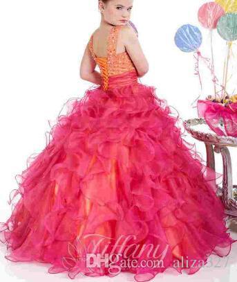 Enfants Enfants Pageant robe avec paillettes style de corsage de style réservoir Sans manches Robe de bal fille de fleur Pageant Pageant Robes Princesse