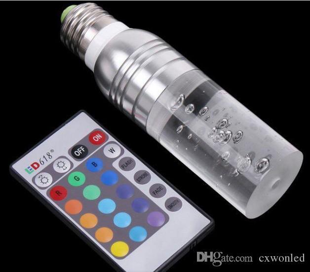 Zmiana kolorów LED E27 E26 3W RGB Lights AC85-265V 16 Kolory Zmień Crystal Led Culble Light z 24 Klucze Pilot Pilot Darmowa Wysyłka