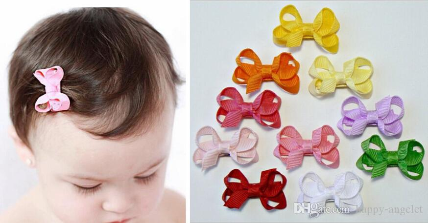 "10pcs 2"" Wave point dot Hair Bow clip Baby mini Hairbows Grosgrain Ribbon Boutique bowknot with Alligator clip headwear Accessories HD3346"