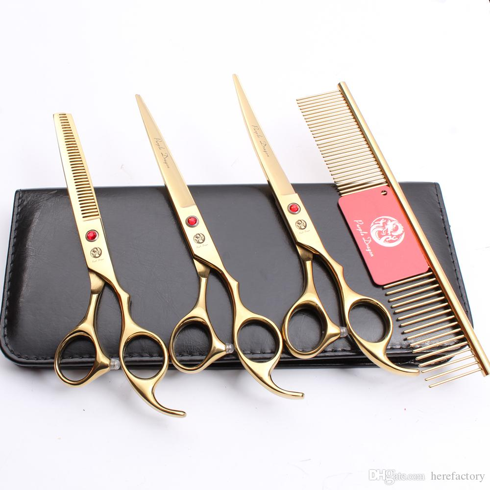 """Suit 7"""" JP 440C Purple Dragon Professional Pets Grooming Hair Scissors Comb +Cutting Shears + Thinning Scissor + UP Curved Shears Z3003"""