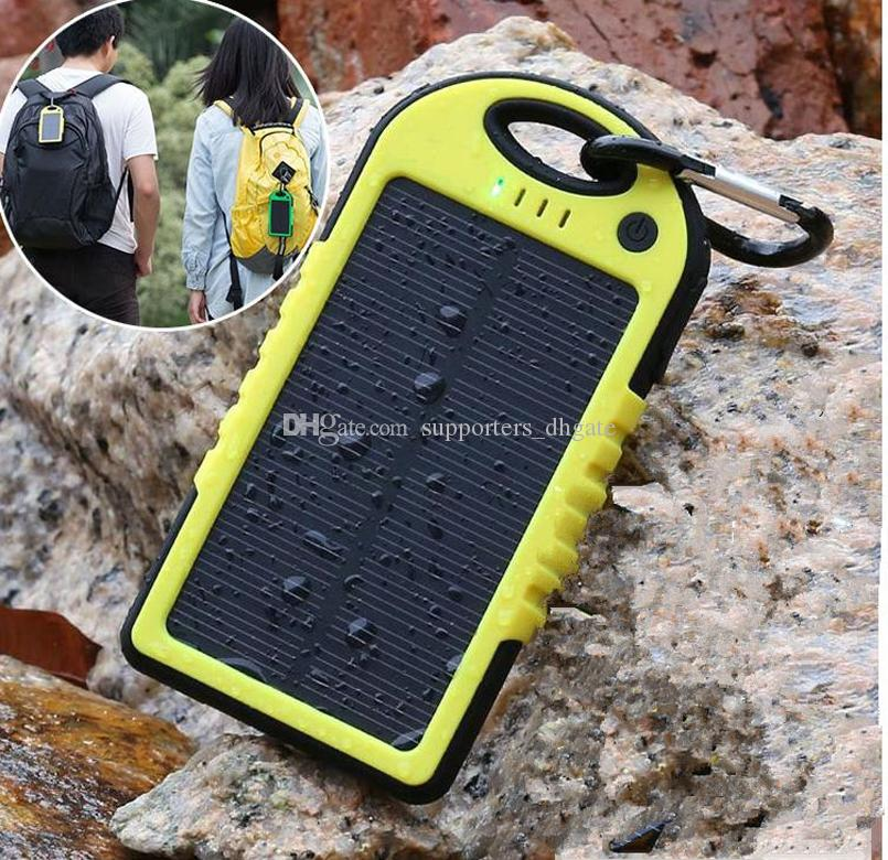 Gota banco de energia solar Carregador 5000mAh Dual USB Bateria painel solar à prova d 'água à prova de choque portátil Ao Ar Livre de Viagem Enternal para telefone celular