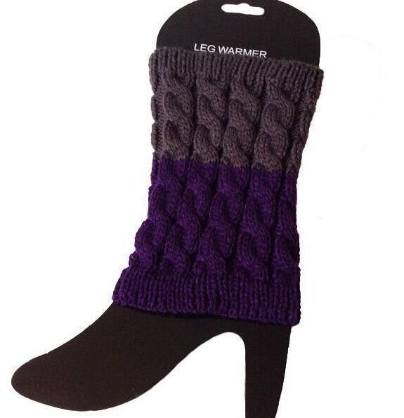 2015 2 tone gradient color Twist Crochet Knit Leg Warmers Boot Cuffs Toppers Boot Socks #3909