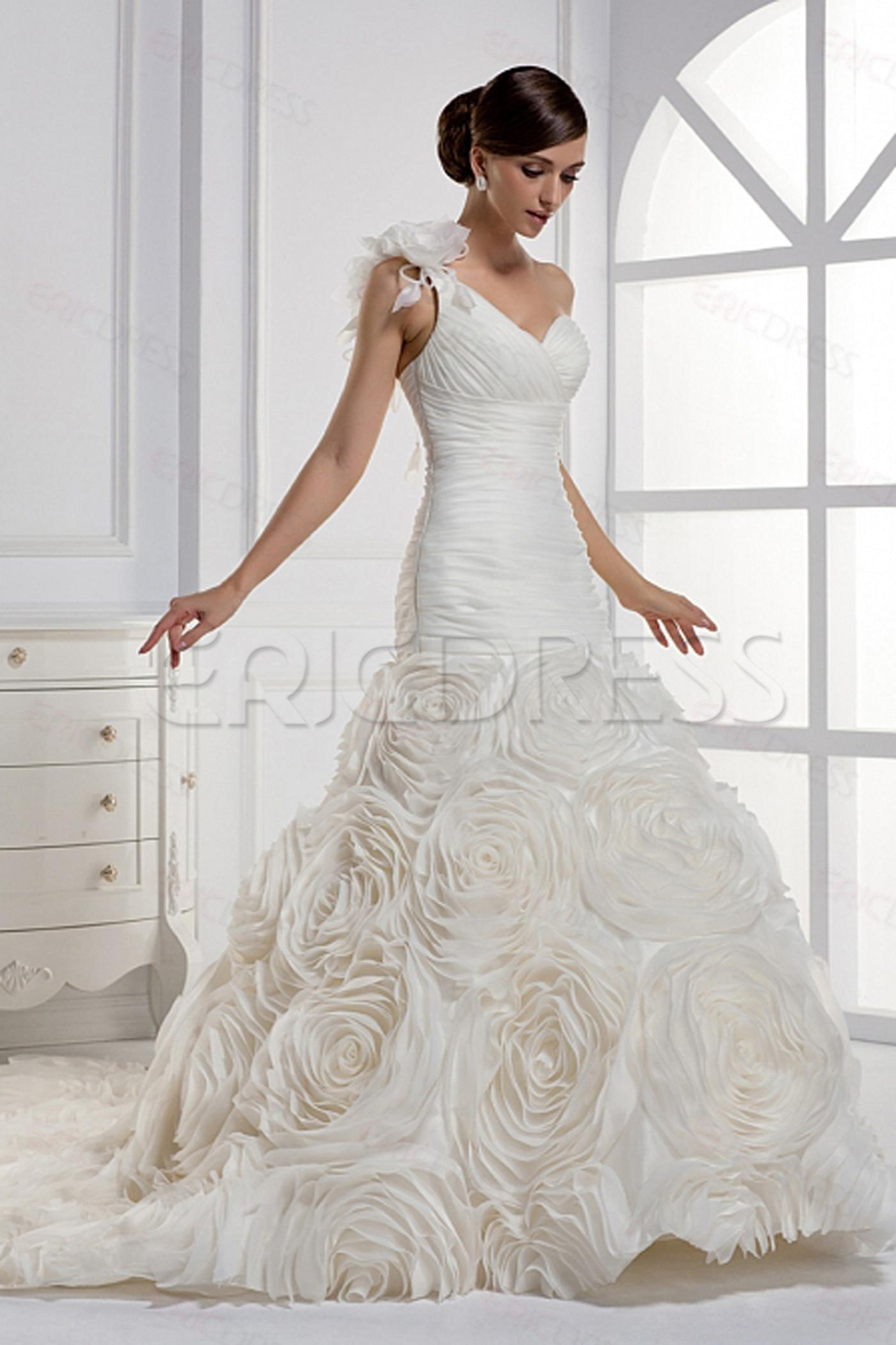nwd126 2016 fashionable of bride one shoulder multi 3d flowers