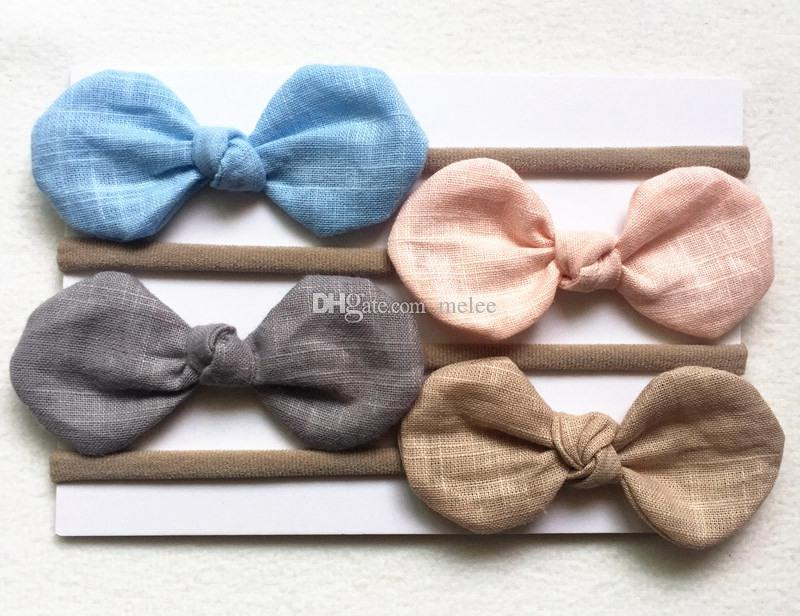 Best Quality Handmade solid Nylon Headband Bow Headbands For cute Kids Girls Hair Accessories Headwear cloth head band free ship