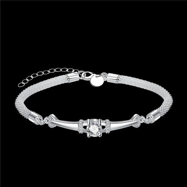 Hot sale gift 925 silver Eiffel Tower Bracelet DFMCH382,Brand new sterling silver plate Chain link gemstone bracelets high grade
