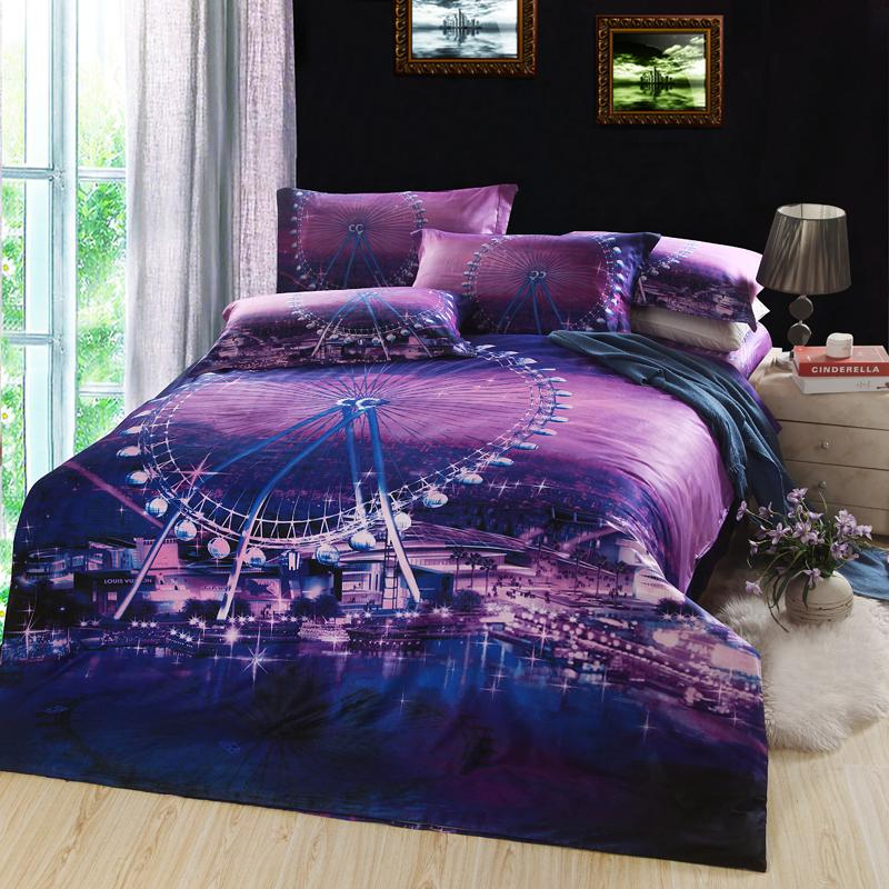 London Eye Ferris Wheel Reactive Printing Bedding Bed Linens 100% Cotton  Queen Reversible Duvet/Quilt Cover Flat Sheet 4/Comforter Sets Custom Duvet  Covers ...