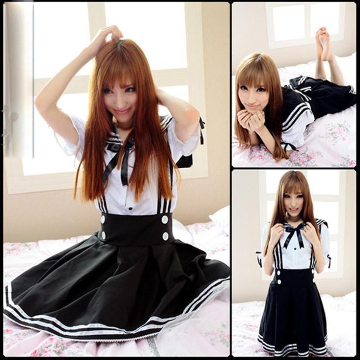 6a83707089 Compre 2015 Uniforme Escolar Japonês Cosplay Anime Girl Maid Sailor Lolita  Vestido Listrado Azul   Japão Menina Cosplay De Minicon
