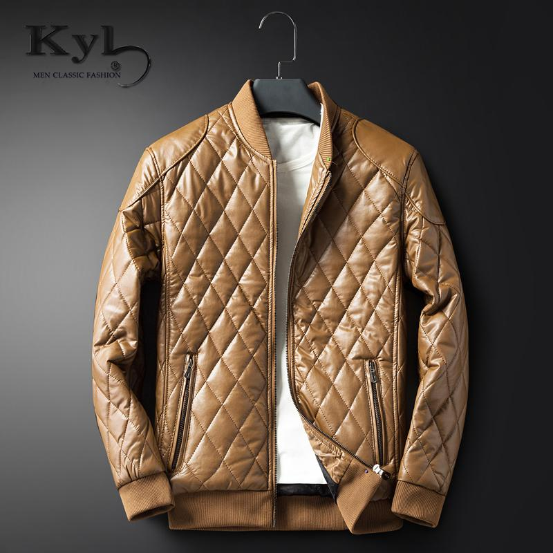 aef302df257 Wholesale- Kunyulang 2017 Leather Coat Men Slim Fit New Warm Winter ...