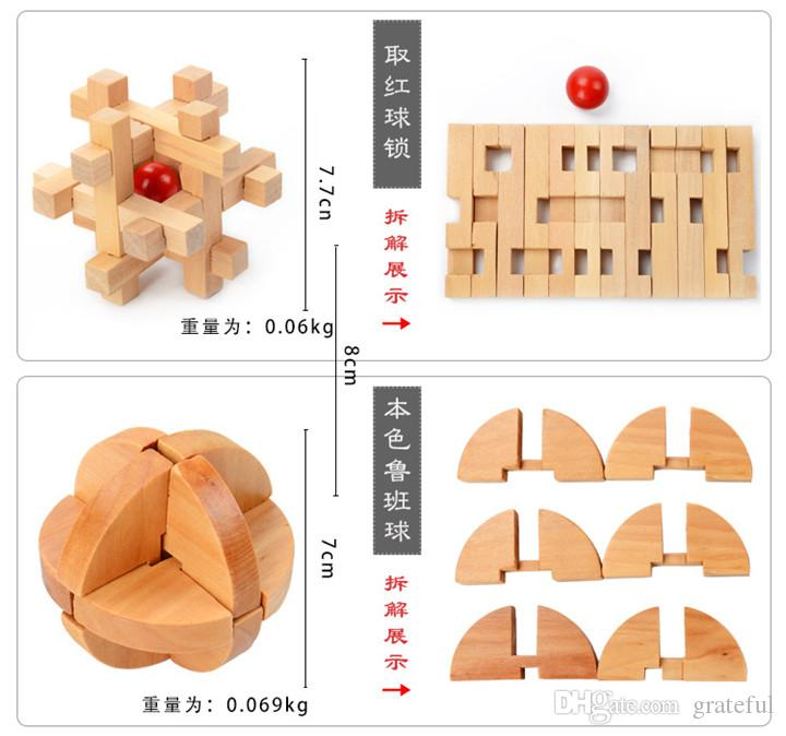 Kids Education Wooden Toys IQ Brain KongMing Lock Interlocking Burr 3D Puzzles Game Educational Intelligence Toy Gift For Kids DHL Ship