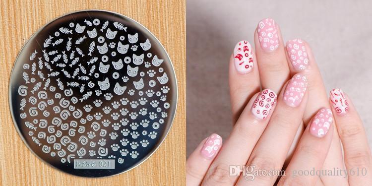 HEHE_Series21-30 Aço Inoxidável Rodada Manicure Template Nail Art Impressão Polish Stamp Plate