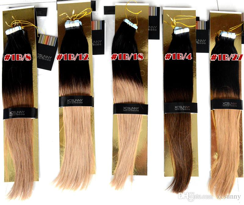 XCSUNNY 100g Tape Hair Extensions Ombre Adhesive Extension Indian Remy Hair Extensions Skin Weft Hair Extensions