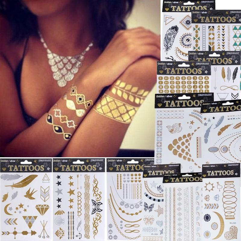Hot Fashion Women Men Jewelry Metallic Gold Silver Temporary Tattoos