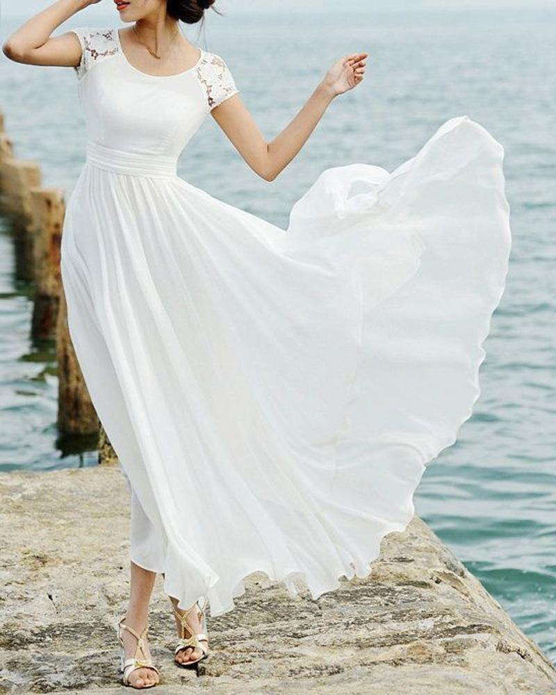 Short Sleeve Lace Wedding Dresses 2016 Chiffon Simple: 2016 Short Sleeve Chiffon Beach Wedding Dresses Elegant
