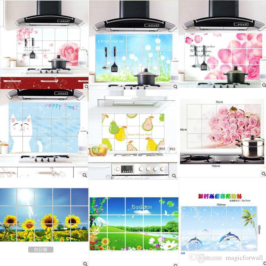 colorful kitchen wall decor sticker aluminum foil kitchen stick colorful kitchen wall decor sticker aluminum foil kitchen stick anti oil pink flower dandelion sunflower fruit dolphin wall art decal sticker for the