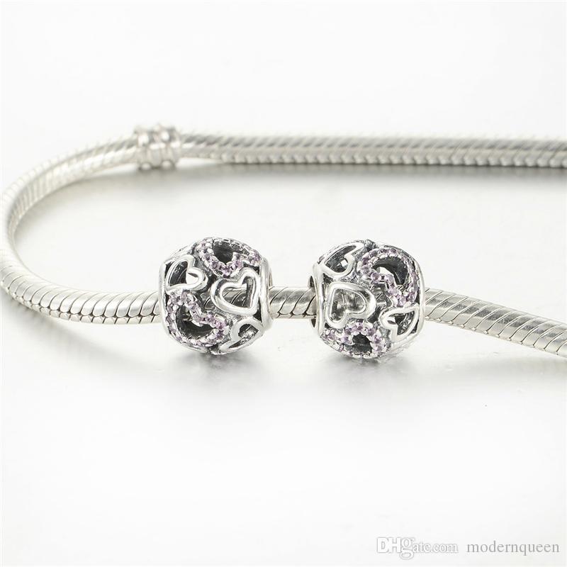 Los encantos originales del corazón de la plata esterlina S925 se adaptan a las pulseras de los encantos de la pulsera del estilo de pandora envío libre del estilo H9