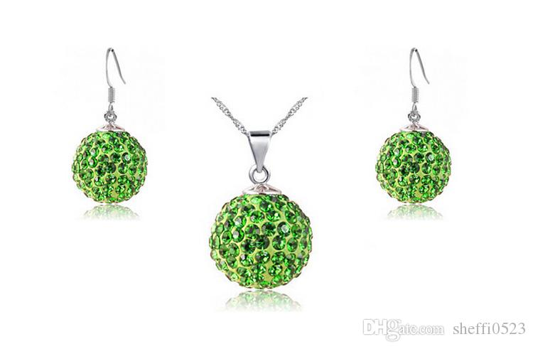 Candy color Shambhala ball Full Rhinestone Necklace Earrings Sets Fashion Austria Crystal Jewelry Sets For Women Best Jewelry G159