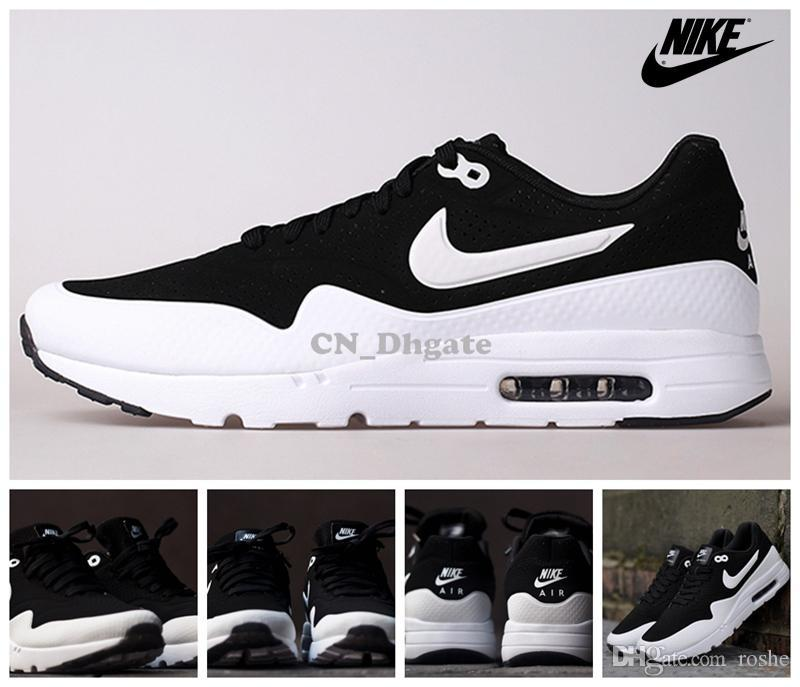 Nike Air Max 1 Ultra Moire Black Silver White 705297 001 Women Men Running  Shoes ef1a105f5