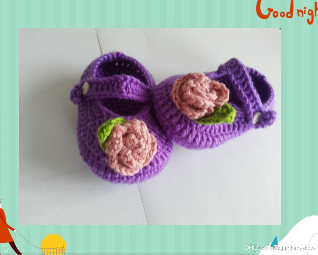 Baby crochet shoes baby boys booties infant 100% handmad first walker shoes kids knit purple sandals toddler shoes 0-12M customize