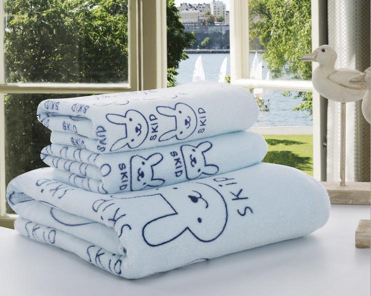 마이크로 화이버 목욕 수건 세트 어린이 선물 1 개 목욕 수건 + 2 개면 수건 도트 트리 만화 토끼 핑크 블루