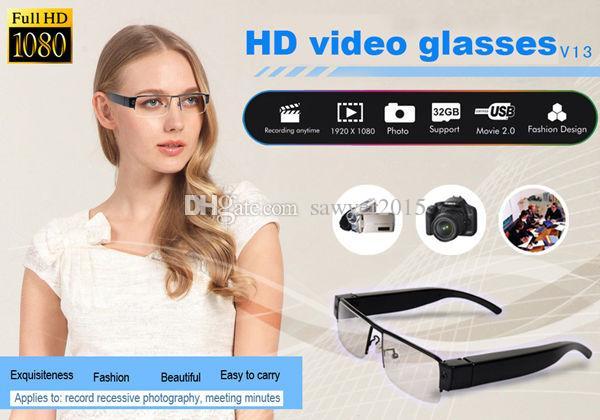 V13 HD 1080P نظارات الكاميرا المحمولة نظارات فيديو مسجل النظارات MINI DV DVR الكاميرا مع فتحة بطاقة TF الأسود