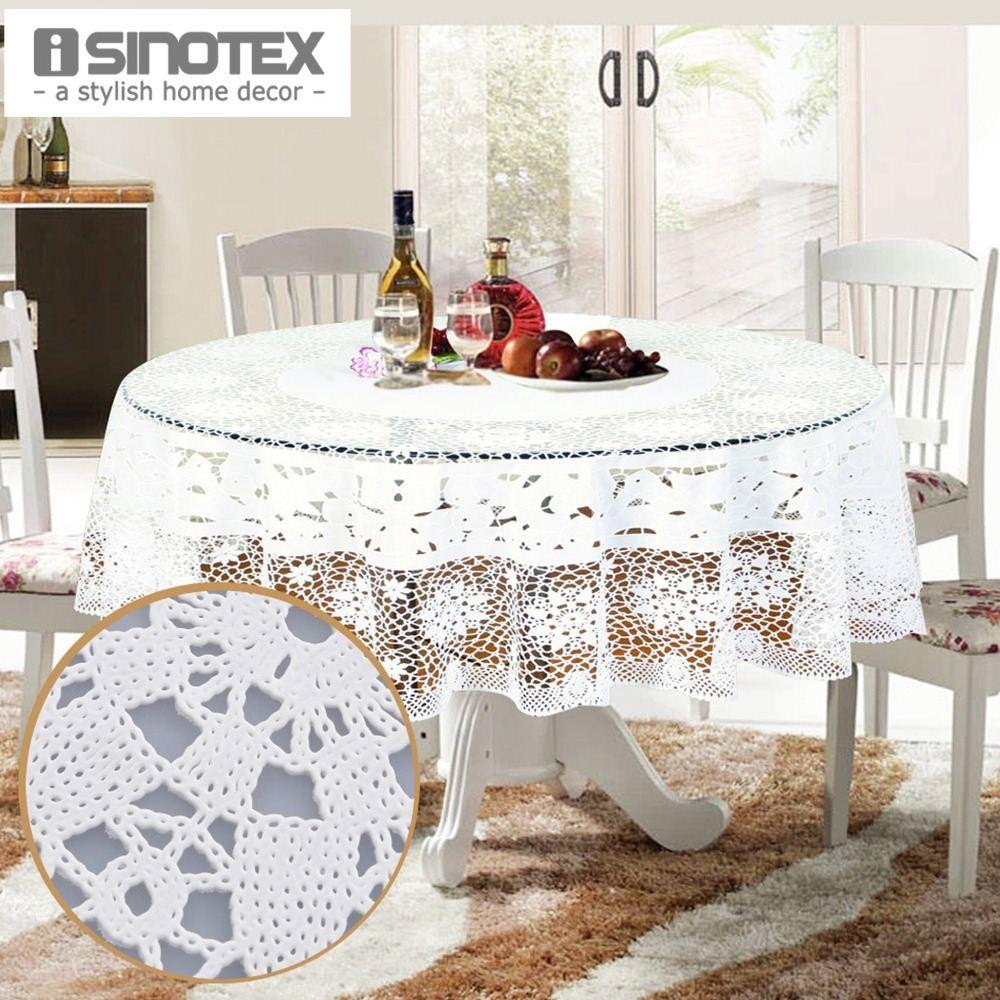 Fresh Round Table with White Tablecloth