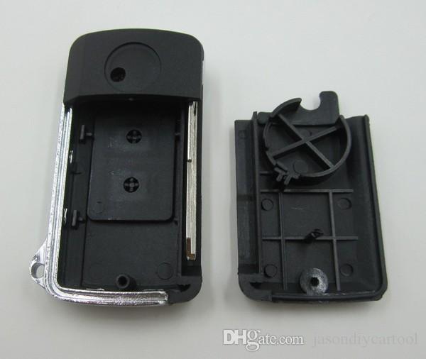 Modificado en blanco tirón llave plegable Shell 2 botones para Mitsubishi Pajero V73 clave de caso Outlander