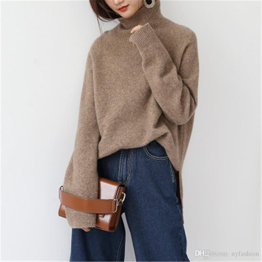 040abda90336 2019 Hot Thick Sweater Female Big Yards High Collar Lazy Loose Loose Cashmere  Sweater Head Knitted Blouse XD 009 From Nyfashion, $80.41 | DHgate.Com