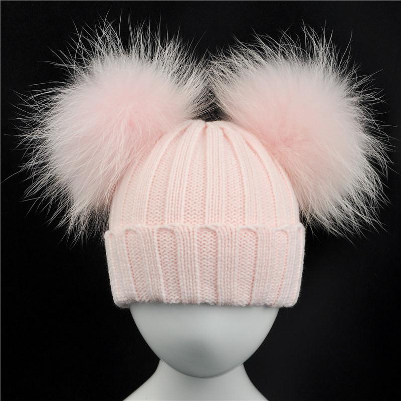 dc3c85b3b7b979 Winter Baby Knit Hat With Two Fur Pompoms Boy Girls Natural Fur Ball Beanie  Kids Caps Double Real Fur Pom Pom Beanies Hat For Children Crochet Hats  Headwear ...