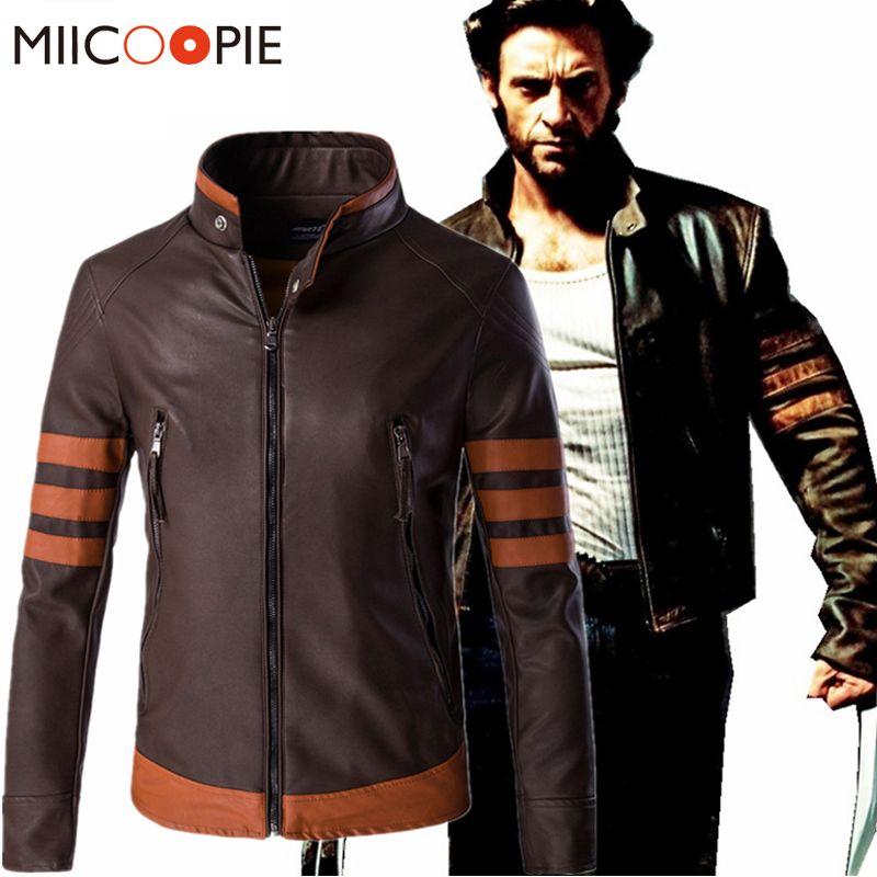 bafeb80b6 Wholesale- Autumn Winter Brand Leather Jacket Men Cosplay X Men Wolverines  James Logan Howlett PU Motorcycle Suede Jacket Male Windbreaker