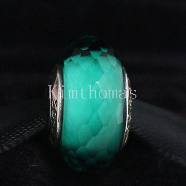 Granos sueltos bricolaje hecho a mano de Murano Plata de ley 925 verde azulado tallado cristal de Murano del grano del encanto para las pulseras europeas de la joyería de Pandora