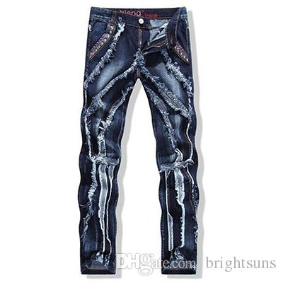 1cd5f63148bc European American Style Men s Jeans Spliced Washed Patchwork ...
