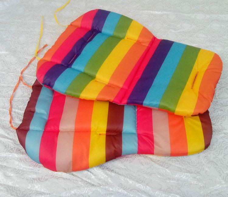 waterproof baby Cushion Stroller Accessories Pad Pram Padding Line baby Car Seat Pad Rainbow general cotton thick mat Rainbow thick pad cart