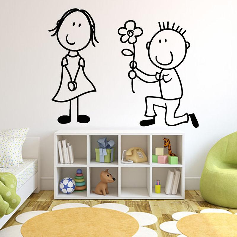 The Boy Get Down On One Knee Give The Flower To The Girl Bedroom Home Decor  Wall Sticker Vinyl Removable Baby Room Wall Decals Part 48