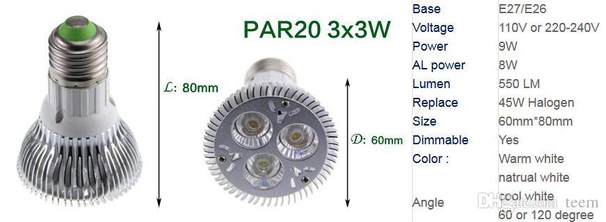Bombilla led regulable foco par38 par30 par20 85-240V 9W 10W 14W 18W 24W 30W E27 par 20 30 38 lámpara LED downlight luz