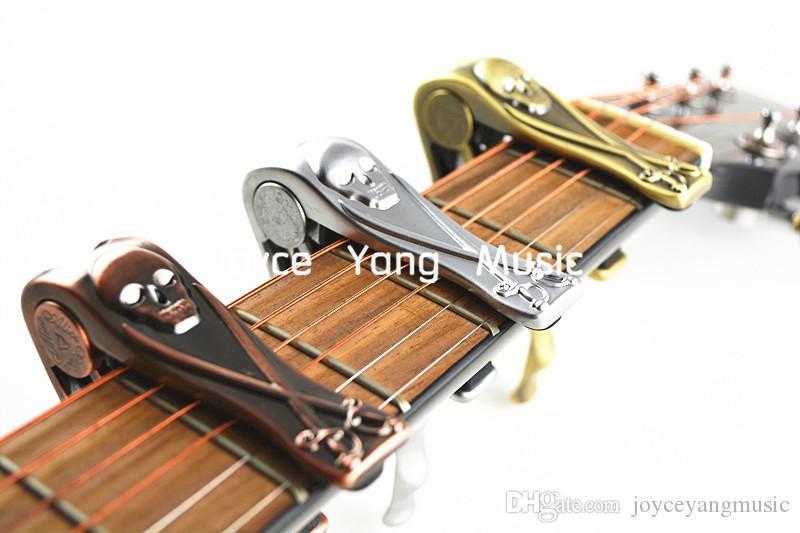 Akustik Elektro Gitar Altın / Gümüş / Bronz Ücretsiz Kargo Toptan İçin Alice A007H Metal Korsan Kafatası Gitar Capo Kelepçe