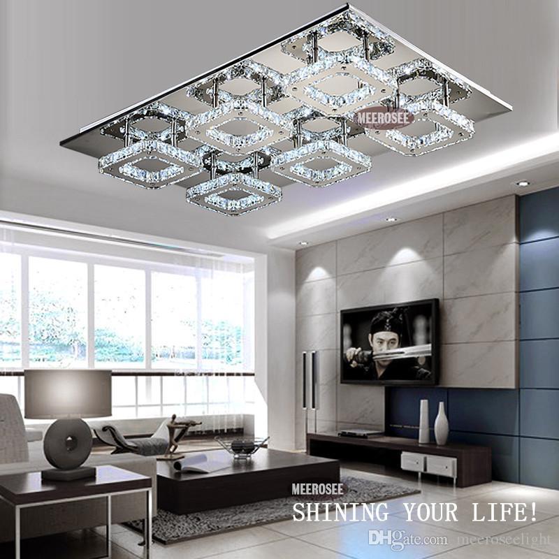 Acheter livraison gratuite moderne led cristal lumière carrée surface montée lampe cristal lustres plafonnier luminaire pour foyer salon de 145 13 du