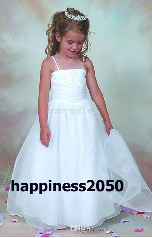 Adorável White Straps Flower Girl Vestido Meninas Pageant Vestidos de Aniversário / Feriados Vestidos Personalizado SZ 2-14 F423012