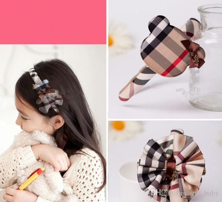 Europe Plaid Baby Girls Headbands Lovely Bowknot DIY Send Button Children Hair Accessories Student Fashion Hair Band New Years Gifts L1621
