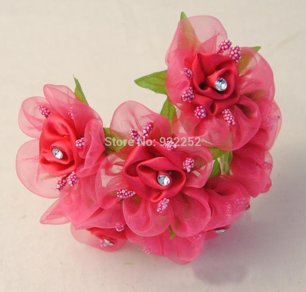 Flower making satin ribbon artificial small roses with leavesdiy flower making satin ribbon artificial small roses with leavesdiy craft bridal bouquetsdecoration for archgarland haircarled ribbon monkey ribbon izmirmasajfo