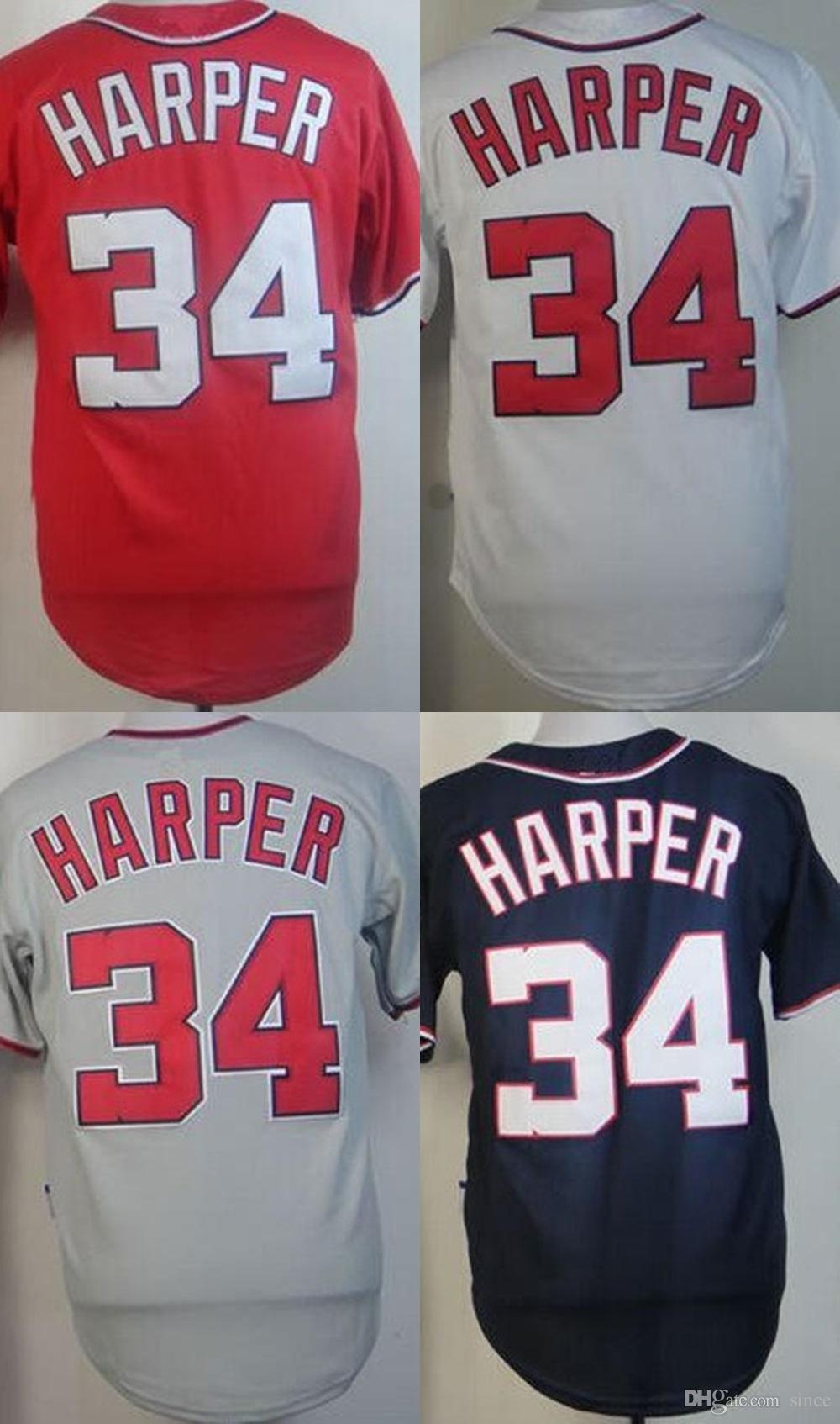 2018 Wholesale Washington 34 Bryce Harper Cool Base Flex Base White Blue  Grey Red Size Xs 6xl Stitched Baseball Jerseys From Since, $16.89 |  Dhgate.Com