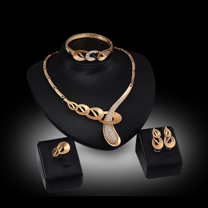 Jewelry Sets 18K Gilded African Fashion Statement Necklace Earring Bracelet Ring Women Collar Wedding Dress Accessories