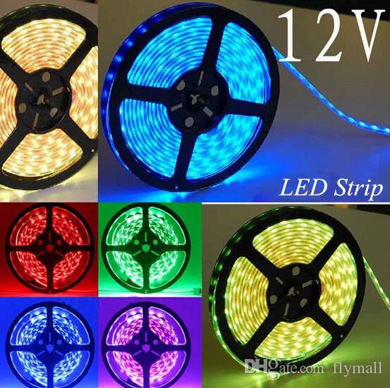 Super Light 3528 SMD Waterproof 60 LEDs/M 300 LEDs Warm Cool White Red Green Blue Yellow RGB 5M/Roll RGB Flexible LED Strip Light 12V