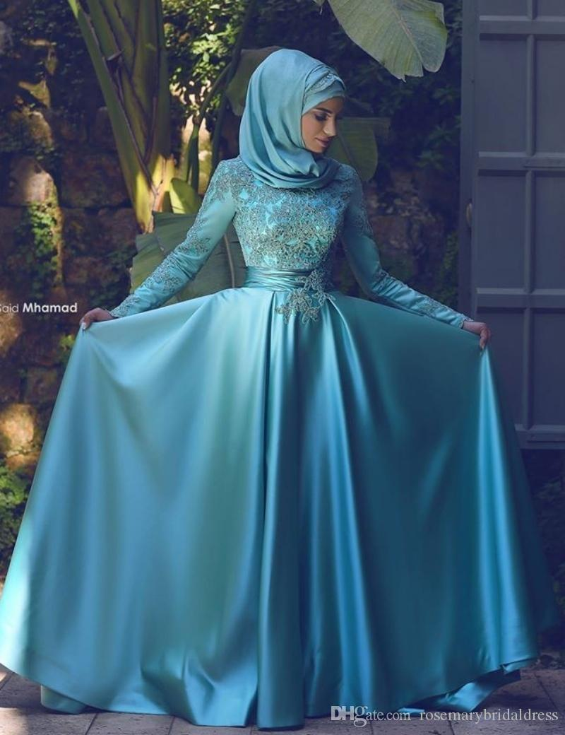 2016 Long Sleeves Muslim Arabic Evening Gowns Dresses Dubai Formal ...