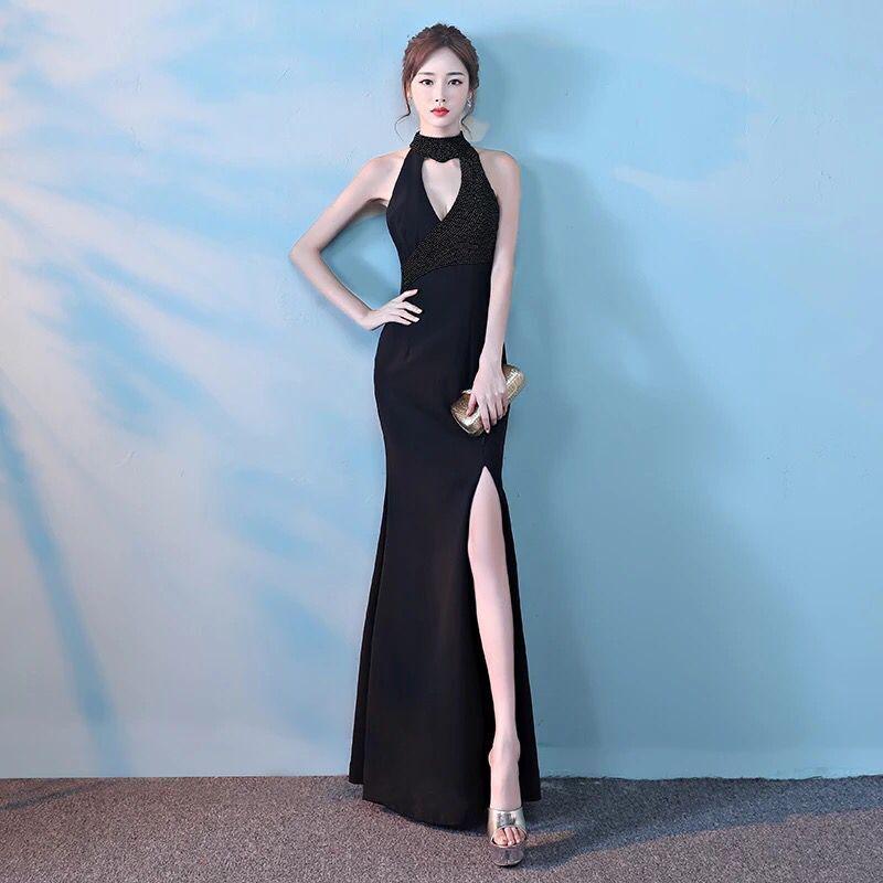 e887268cfd1f New Arrival 2017 Black Trumpet/Mermaid Dress For Women Prom Dresses Split  Beading Sleeveless Halter Zipper Elegant Skirt Sexy Dress Yellow Dress From  ...