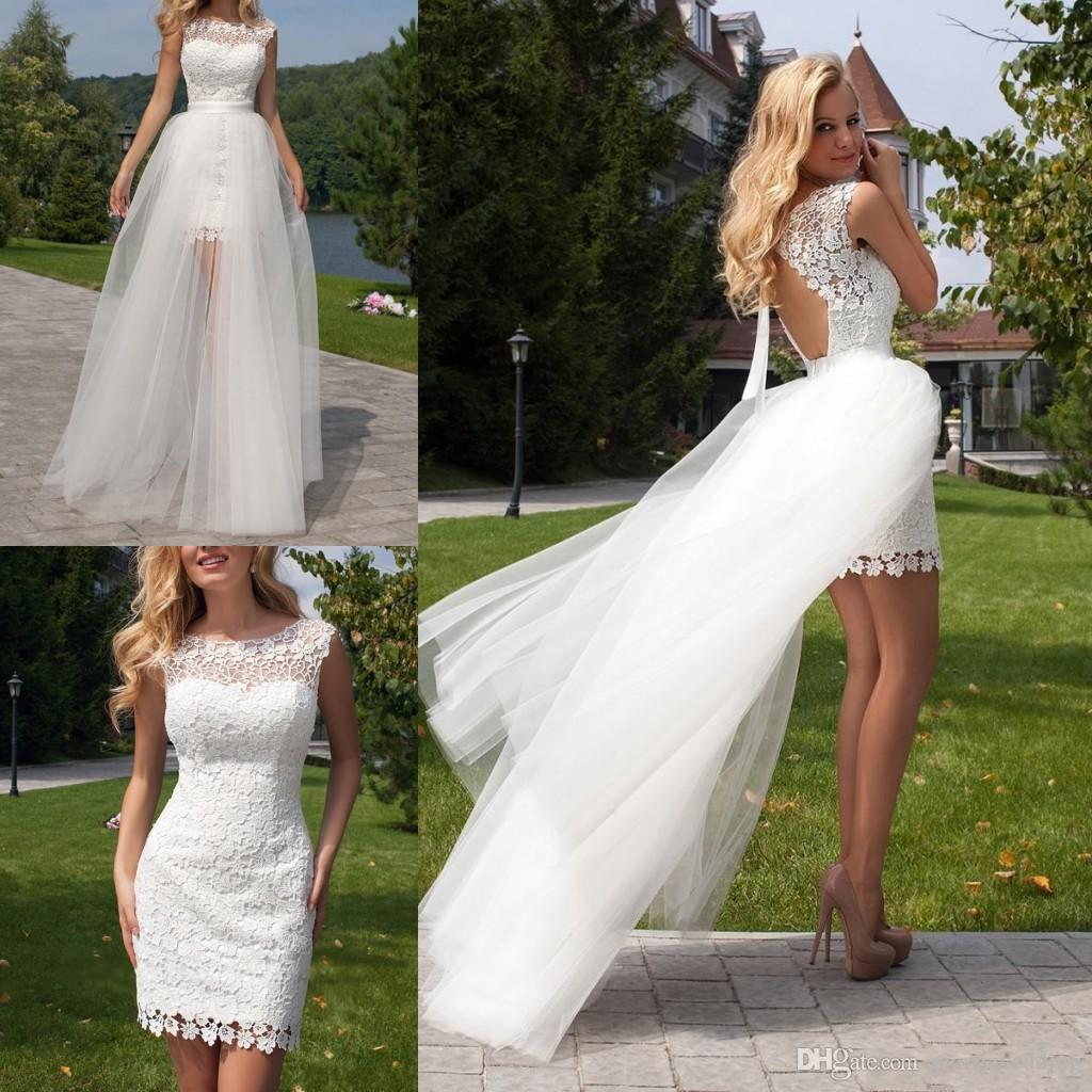Discount Custom Vintage Greek Style A Line Detachable: Discount Short White Lace Overskirts Wedding Dresses With